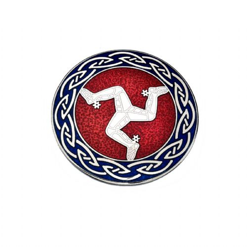 Isle of Man Legs Brooch Silver Plated Red White & Blue Brand New Gift Packaging